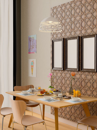 Mock up frame in dining room interior. Table Indoors  Home Interior Furniture No People Seat Absence Chair Setting Flower Place Setting Empty Domestic Room Plate Flowering Plant Home Architecture Dining Table Plant Wall - Building Feature Luxury Modern Dinning Room