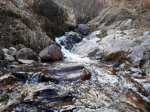 Rocks Flowing Stream No People Forest Flowing River Riverside Sunshine Backgrounds Full Frame Textured  Close-up Cold