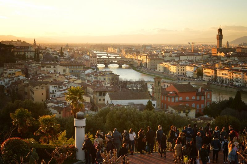 View from Piazzale Michelangelo in Florence, Italy Sunset Sunsets Piazzale Michelangelo Michelangelo View From Above View Panorama Panoramic Landscape Cityscape TOWNSCAPE Florence Firenze Florenz Aussicht Italy Italia Italien Ponte Vecchio Florence Cathedral Cathedral Old Town Outdoors City River