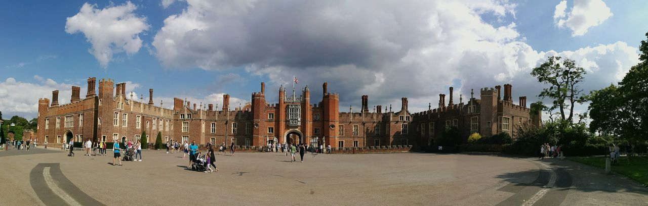 Hampton Court Palace Architecture Medieval Architecture History Henry VIII Historical Building Entrance People Panoramic Cloud - Sky People Walking  Light And Shadow Non Recognizable People