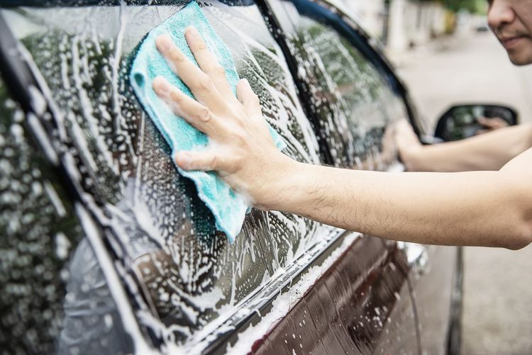Car Motor Vehicle Washing Human Hand Mode Of Transportation Cleaning Hand Car Wash Transportation Land Vehicle Lifestyles Human Body Part Soap Sud Glass - Material Focus On Foreground People Windshield Water Day Cleaner Outdoors Housework Rubbing