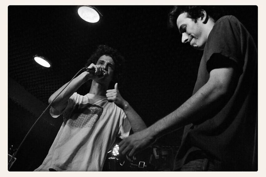 on the left: rapper Noah; on the right: rapper JerMC (http://soundcloud.com/jednb); @ Dreistil Kick Off (22.05.2014), first round of the acapella battle, 1vs1, winner JerMC; copyright by Kathleen Montorio, picture taken with Nikon D5000 for the Hip Hop in Vienna Blog; Rap Battle, Acapella Battle;