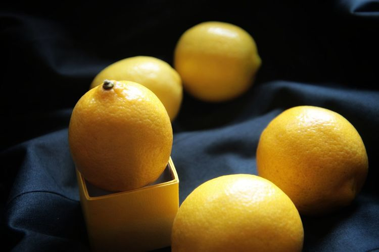 High angle view of oranges on table