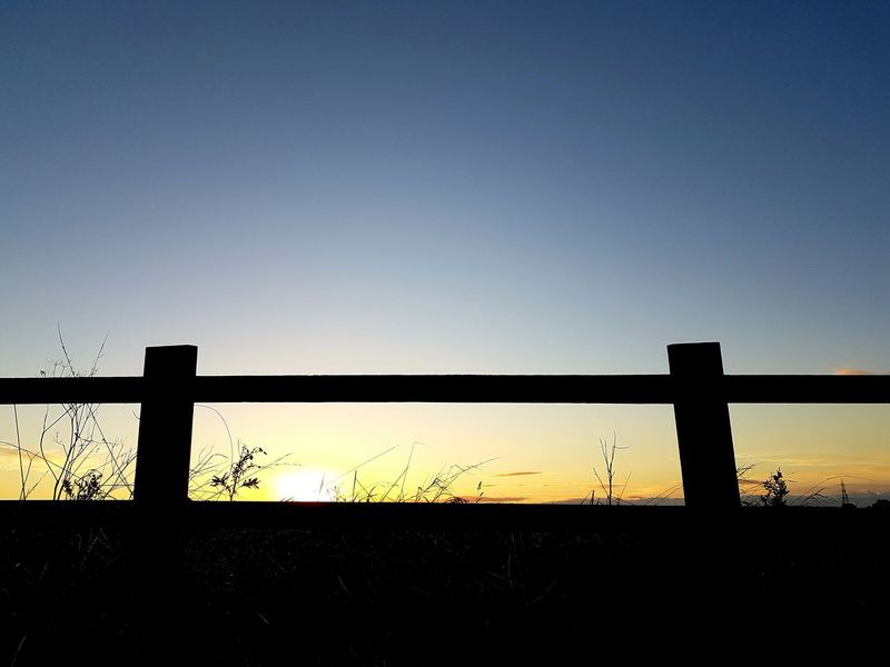 Sunset Fence Tranquil Scene Clear Sky Scenics No People Beauty In Nature Tranquility Samsungphotography. South Shields