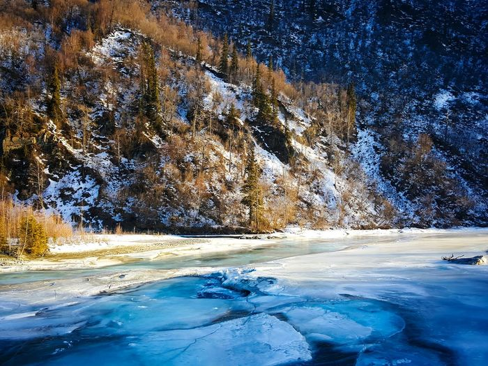 Frozen River By Mountain
