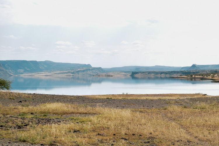 Lake against an arid background, lake magadi, rift valley, kenya