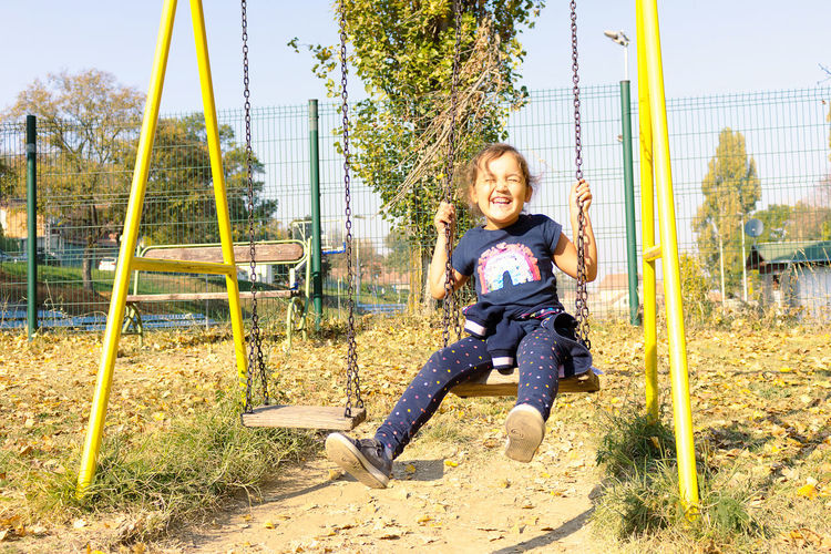 Portrait of smiling girl on playground