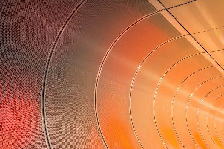 Architecture Backgrounds Built Structure Ceiling Circle Close-up Curve Day Design Directly Below Full Frame Geometric Shape Indoors  Low Angle View Metal Nature No People Orange Color Pattern Shape Sport