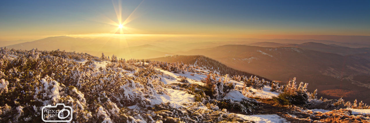 Sunset from Babia Gora, lesser Poland Beauty In Nature Cold Temperature Day Mountain Mountain Range Mountains Nature No People Outdoors Poland Poland 💗 Sun Sunlght Sunlight Sunlight And Shadow Tree Trees View Winter