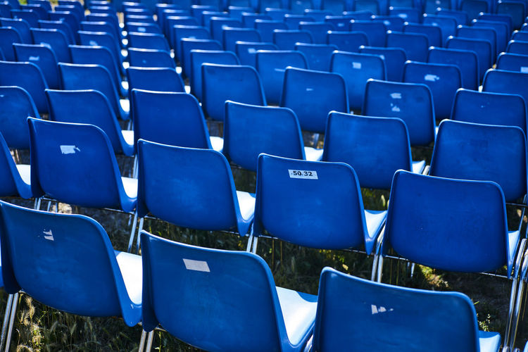 Absence Abundance Arrangement Backgrounds Blue Chair Day Empty Folding Chair Full Frame In A Row Large Group Of Objects No People Outdoors Repetition Seat Stadium Let's Go. Together.