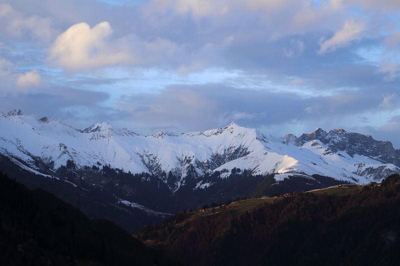 Alpine Blue Hour Dramatic Sky EyeEm Nature Lover EyeEm Gallery Hello World Hiking Prättigau Winter Clouds And Sky Cold Temperature Evening Eye4photography  Landscape Mountain Mountain Range Nightfall Outdoors Peak Scenics Snow Snow Covered Snowcapped Mountain Switzerland Tranquility