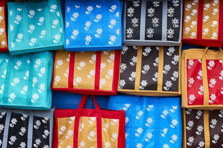 Close-up of multi colored bags