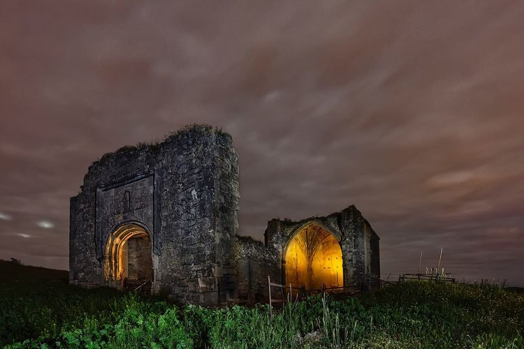 Abandoned hermitage Sky Cloud - Sky Built Structure No People Abandoned Outdoors Architecture Light Painting Light Effect Light In The Darkness Light And Shadow Light And Dark Nightphotography Illuminated Night Church Religion Spainish Architecture, Spain Dramatic Sky Landscape Architecture Old Ruin Building Exterior Spirituality Iglesia