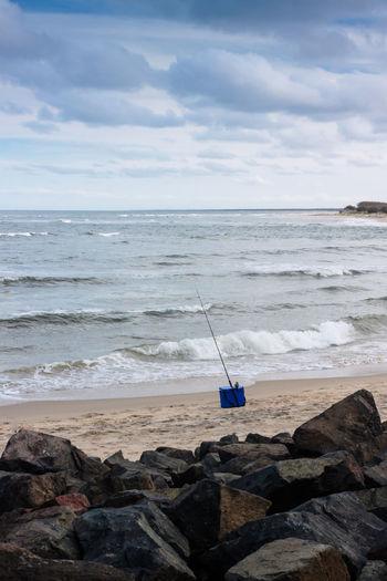 Fishing Gear On The Beach Australia Beach Caloundra Clouds Fishing Ocean Pacific Queensland Rocks Sea Sky Sports Waves