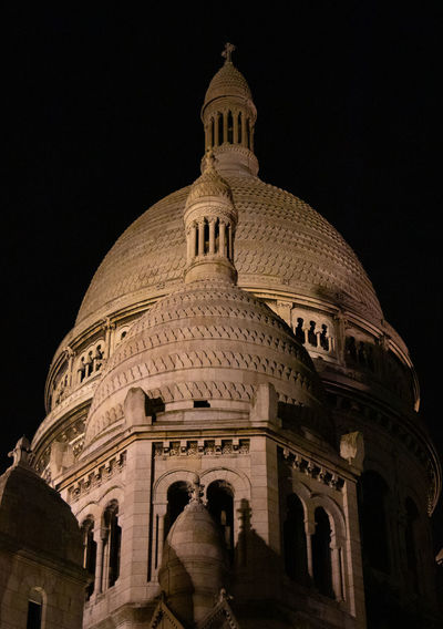 Architecture Dome Built Structure Night Low Angle View Building Exterior Travel Destinations History The Past Sky Travel Tourism Arch Nature Religion City Clear Sky Belief Illuminated Montmartre Paris Sacre Coeur