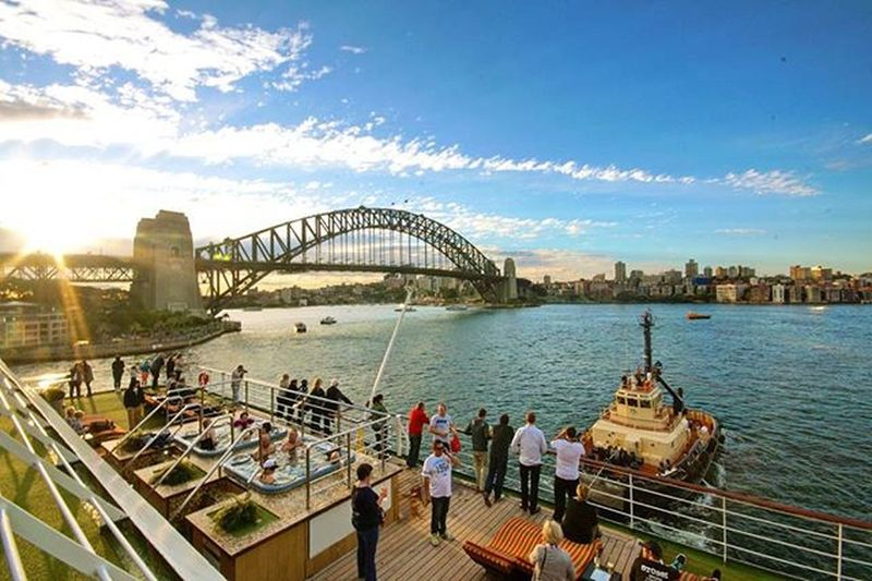 Cruiship Pacificpearl leaving Circularquay this was on our last cruise in July Sydneyharbour Sydney SydneyHarbourBridge Sunset P &o Cruise Igersydney Sydneygram Sydneyinstagram