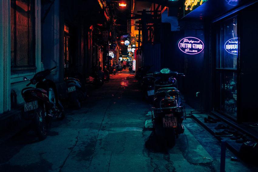 Walking by the Tattoo Shop Asian Culture Backyard Night Lights Urban Exploration Architecture Illuminated Neon Lights Night No People