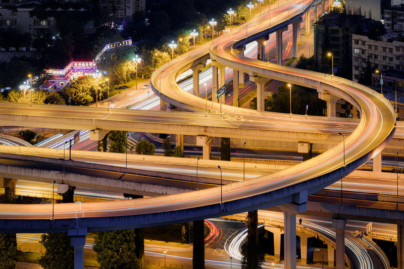 Yingmenkou flyover at night in chengdu,Sichuan province,China Chengdu Cityscape Interchange  Traffic Architecture Arial Bridge - Man Made Structure City Close-up Connection Evening Flyover High Angle View Illuminated Light Trail Modern Motion Night Nightlife Road Speed Transportation Vehicle Mobility In Mega Cities