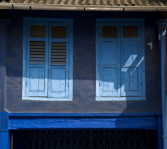 Shophouse Architecture Blue Day Light And Shadow No People Outdoors Window
