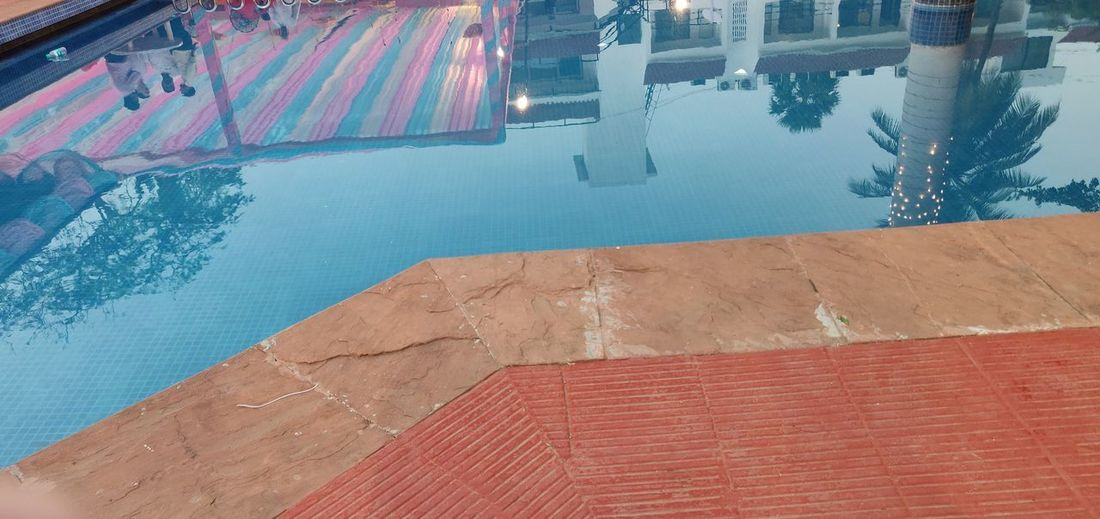 Water Swimming Pool Blue Red Architecture