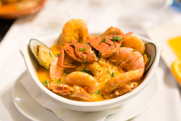 Close-up of prawns in bowl on table
