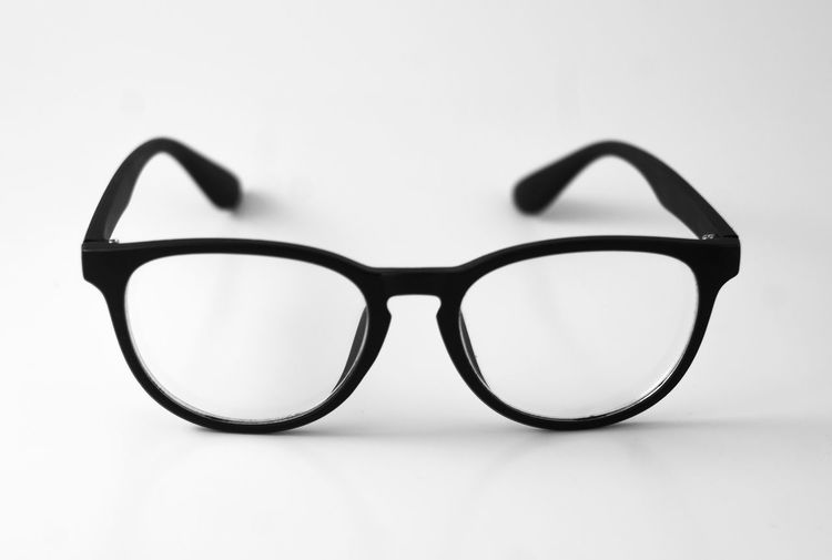 Glasses Eyesight Simplicity Close-up White Background Transparent Black Color Personal Accessory Glass - Material
