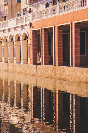 Reflection of building in lake