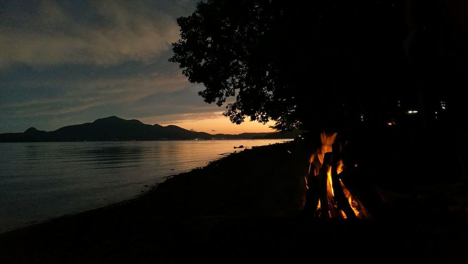 Lake Tōya 洞爺湖 Night Reflection Sunset Tree No People Water Silhouette Nature Tranquility First Eyeem Photo