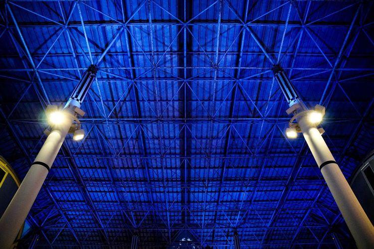 Illuminated Lighting Equipment Low Angle View Ceiling Blue Night Architecture Indoors  Electricity  Floodlight Street Light No People Built Structure Futuristic Stadium Sky Japan Fukuoka