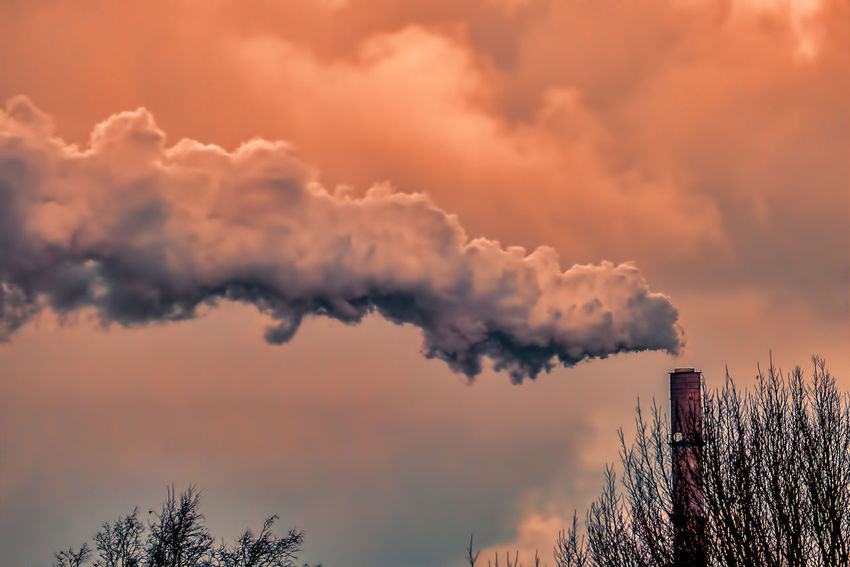 Architecture Built Structure Chimney Emitting Factory Industry Pollution Sky Smoke - Physical Structure Smoke Stack Sunset