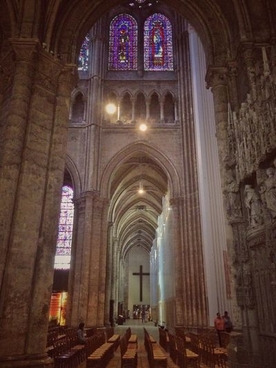 Interior of the Cathedral de Notre Dame, Chartres, France Cathedral Catholic Religion Chartres France