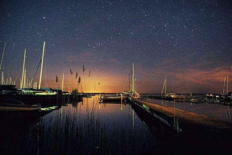 Night Astronomy Stars Lake Vibrant Steinhuder Meer Steinhude-am-meer.de - Dein Meer-Foto Steinhude Water