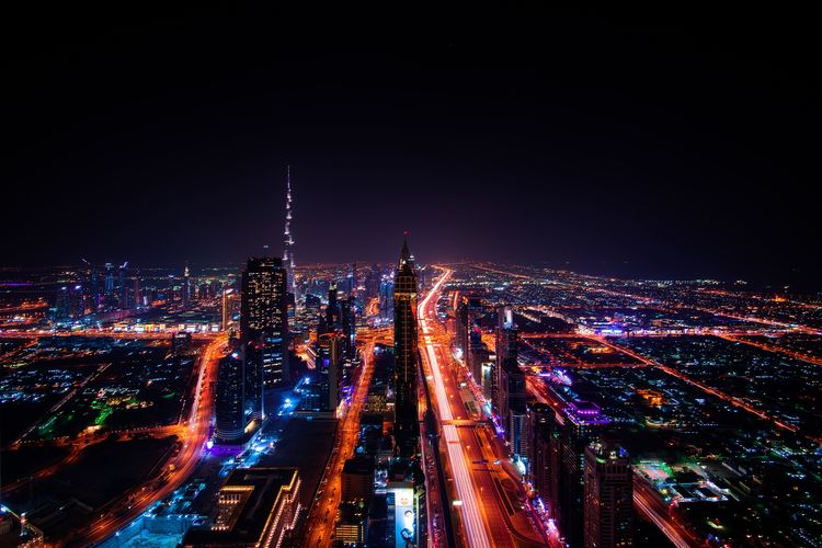 Dubai City , United Emarates Dubai Architecture Building Building Exterior Built Structure City City Life Cityscape Dubaicity Financial District  Illuminated Light Long Exposure Modern Motion Night No People Office Building Exterior Outdoors Sky Skyscraper Street Transportation Travel Destinations Urban Skyline