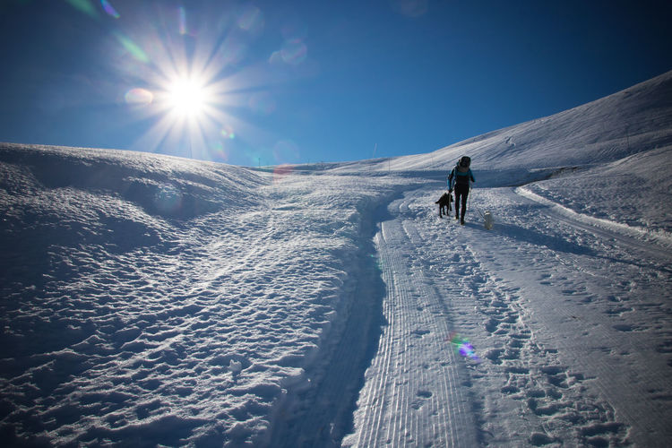 Rear View Of Woman With Dog Walking On Snow Covered Field Against Sky