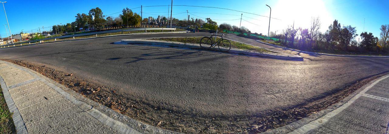 Fixiebike Road No People Day Outdoors Sky Tree Curve Fish-eye Lens