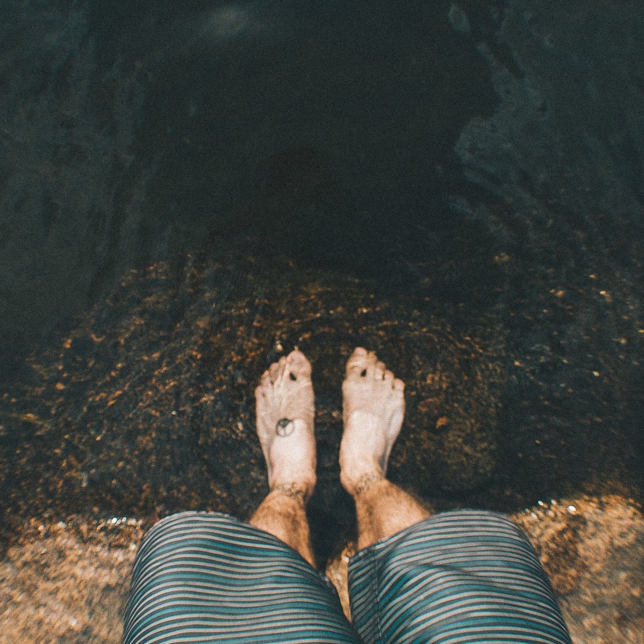low section, human leg, one person, real people, personal perspective, day, human body part, standing, men, outdoors, water, nature, one man only, close-up, adult, people, adults only
