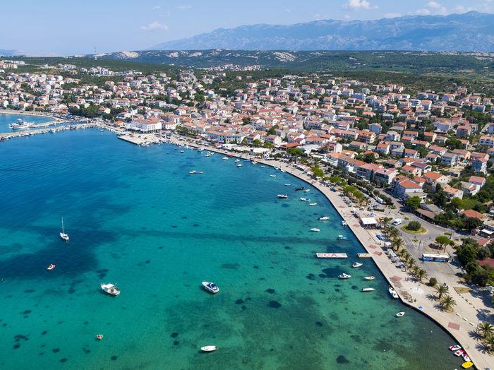 Aerial view of novalja town in pag island, croatia