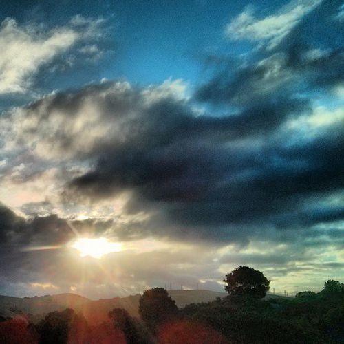 Goodmorning ...Landscape Sunrise Sky Clouds Spectacular Carquenez Crockettca Bayarea Instagood Early Love Cloudscape Bridge Tree Hills