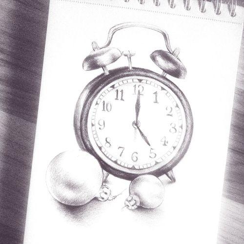 Christmas time ??✏ Sketchbook Drawing AlarmClock Still Life