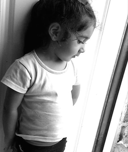 Window One Person People Lovephotography  2017 MyLove❤ My World ♥ Baby ❤ My Love My Baby. Babygirl Free Spirit Beutiful Baby Black & White Photography Blanco Y Negro