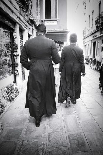 walking faith Venice Venice, Italy Venezia Tunic Two People Priest Priests Walking Around The City  Walking Around Walking Streetphotography Street Photography Streetphoto_bw Blackandwhite Black And White Black & White Blackandwhite Photography Black And White Photography EyeEm Best Shots - Black + White Black And White Collection  Unrecognizable Person Human Back Back Men Togetherness Rear View Walking Christianity Catholicism Religion