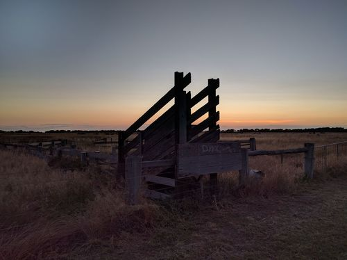 Abandoned Cattle Ramp Sunset Outdoors Built Structure Landscape Wood