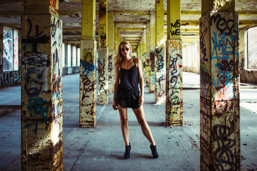 So cool Abandoned Abandoned Buildings Abandoned Places Ankle Boots Architecture Available Light Built Structure Cool Cute Day EyeEm Best Shots Fashion Glamour Graffiti Indoors  Industrial Lifestyles Portrait Portrait Of A Woman Rotten Summer Sun Sunglasses Sunlight Vogue
