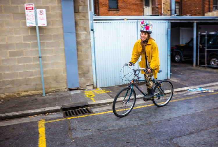 Australia Street View Adelalide Bicycle Funny Hat Girl On Bicycle Happy Girl  One Person