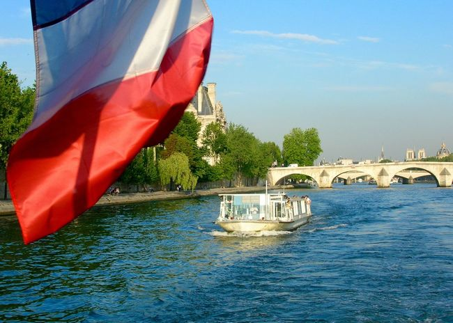 Architecture Building Exterior Day Flag France French Flag Motion No People Outdoors Paris Patriotism River Seine River Sky Tree Water Waterfront