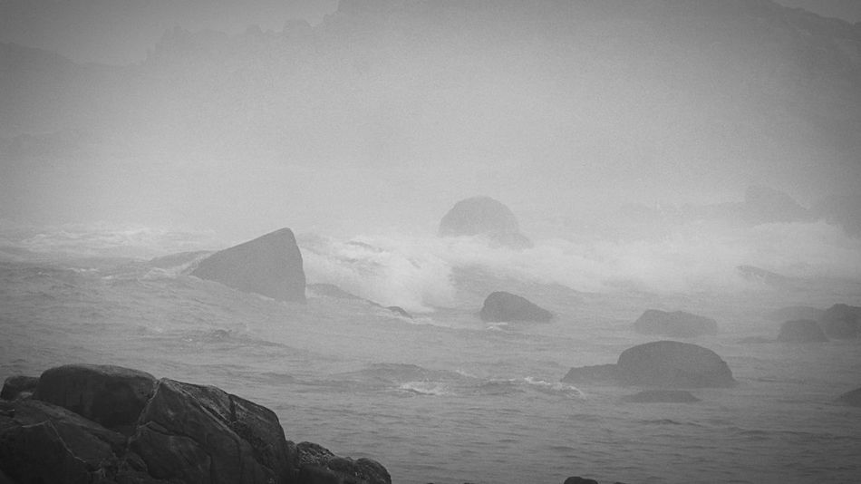 Fog Choppy Sea Le Croisic Rocks And Water Wave Côté Sauvage
