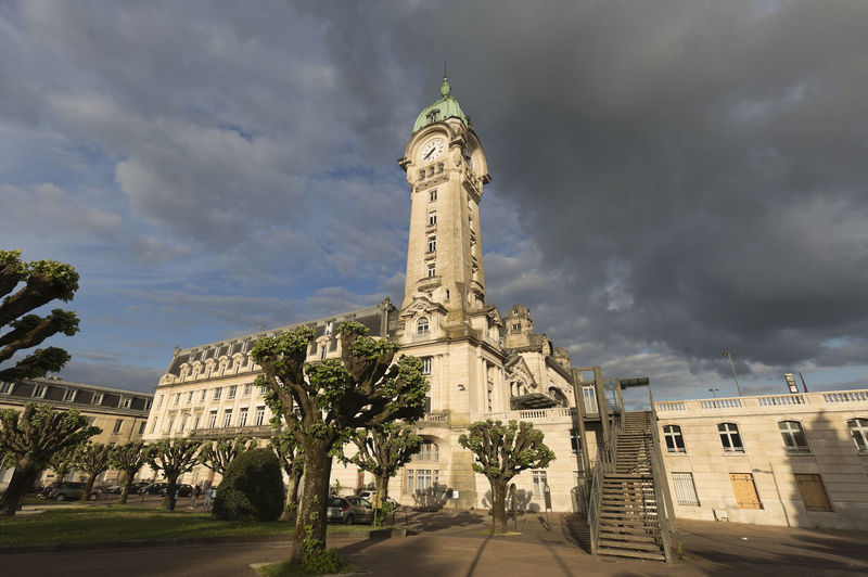 Railway station of the city of Limoges in France. Façade Francia Limoges Station Tourist Tourist Attraction  Transportation Architecture Building Building Exterior Built Structure City Cloud - Sky Day Monument Plant Railway Sky Tourism Tourist Destination Tower Train Travel Travel Destinations Tree