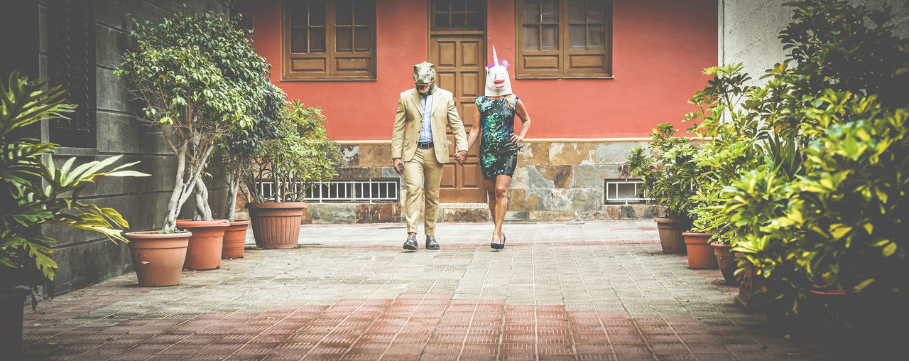 Crazy senior couple walking around city street wearing t-rex and chicken mask - Old trendy people having fun together- Absurd and funny trend concept - Focus on faces - Soft vignette editing Plant Day People Leisure Activity Men Statue Mask Carnival Outdoors
