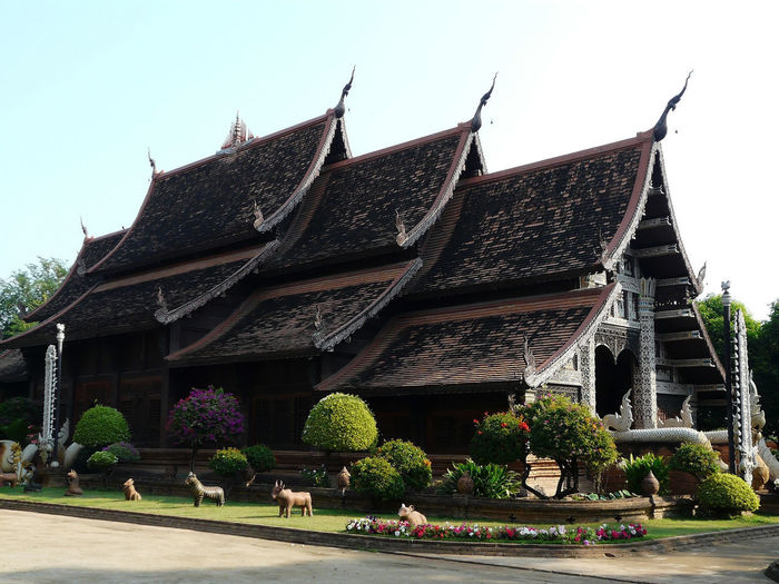 By day architecture and some animal representations Alignments Animal Statue Posing Thailand Architecture Thailand🇹🇭 Traditional Architecture Asian Dragons Beautifull Sky Background Built Structure Clear Sky Dragon Representations Flower Bush Plants Spotted Roof, Roofs Roofs Roofs Of Thailand Travel Destination Outdoor Photography In Thailand