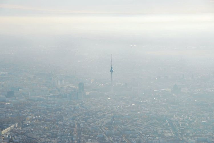 Panorama At Fernsehturm | Berlin TV Tower Birdview with Dusty Misty Cityscapes Overview My Eyes My Berlin Urban Landscape I Love My City Seeing The Sights On Or About The Tower Melancholic Landscapes Fog Aerial Shot Aerial View Pattern Pieces